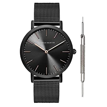 Hannah Martin Unisex Japan Quartz Wrist Watches for Loves Gifts (Black&Rose ...