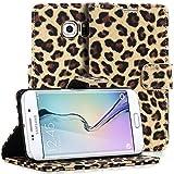 Samsung Galaxy S6 Edge Case, Fosmon CADDY LEOPARD Leather Wallet Flip Cover Case for Samsung Galaxy S6 Edge (Brown)