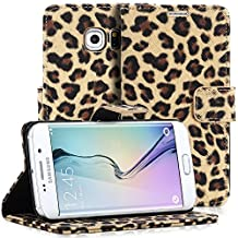 Samsung Galaxy S6 Edge Case, Fosmon CADDY LEOPARD Leather Wallet Flip Cover Case for Samsung Galaxy S6 Edge (Brown)