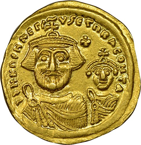 TR 613-641 AD Byzantine Empire, Eastern Roman Empire, Two Emperors and Cross, Medieval Gold Authenticated Coin AV Solidus About Uncirculated ()
