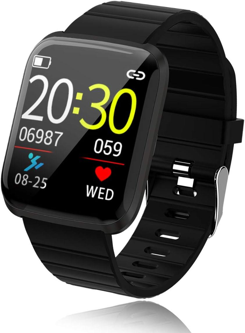 Smartwatch,Bluetooth Reloj Inteligente con Pulsómetro, Cronómetros, Calorías, Monitor de Sueño, Podómetro Pulsera Actividad, Reloj Inteligente Impermeable IP67 para Hombre Muje(Black)