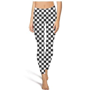 b415be73529b5 PDAQS Black and White Checkered Yoga Pants Gym Leggings Legging at ...