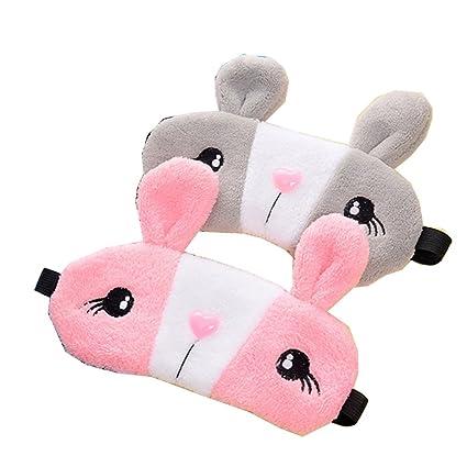 Hualing 2pcs conejo resto de dormir máscara de ojo venda parche escudo viajes Blinder