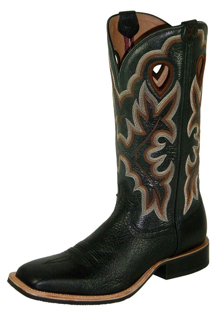 Twisted X Men's Ruff Stock Shoulder Cowboy Boot Square Toe Black 10 D(M) US