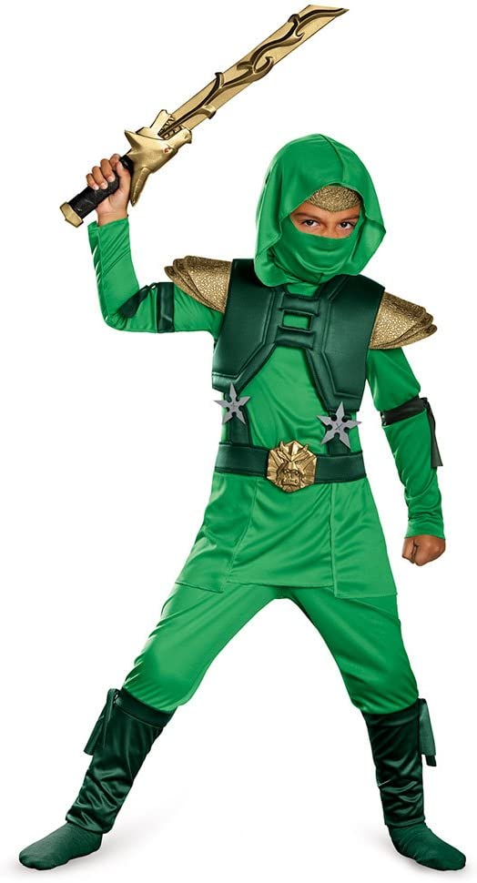 Shadow Ninja Green Master Ninja Deluxe Boys Costume, One Color, 4-6