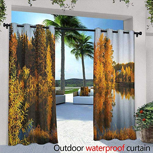 Fall Grommet Outdoor Curtains Lake at Sunset Rays Autumnal Landscape Pond Woodland Outdoors Ecology Environment Energy Efficient, Room Darkening 84