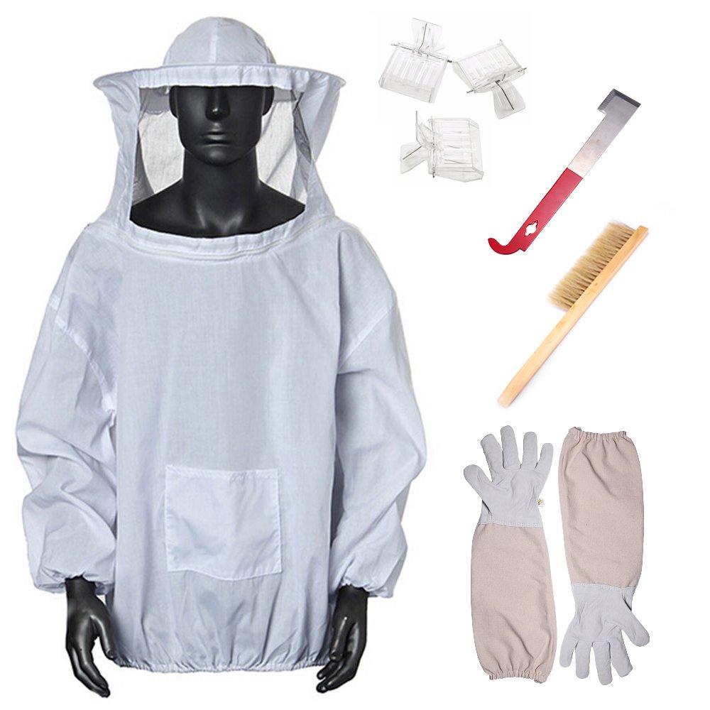 Eleoption Beekeeping Supplies Beekeeping Starter Kit Tool Including Beekeeping Suit, Beekeeping Gloves, Bee Hive Brush,queen Catcher, Hook Hive Great For Professional Beginner Beekeepers (Set of 5)