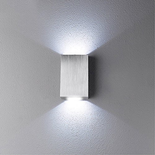 2W Modern LED Wall Light Up Down Indoor Outdoor Sconce Lighting Lamp Housing Fixture (White)