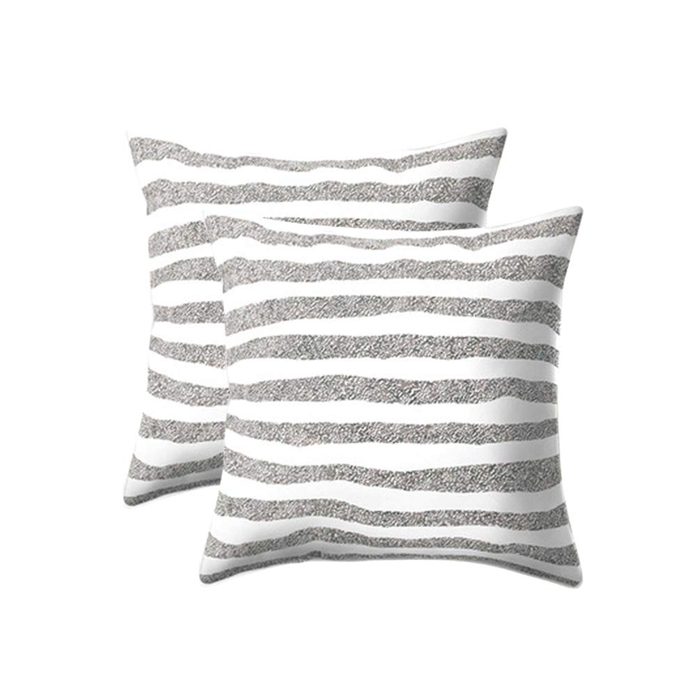 wanzhan Decorative Square Throw Pillow Cover Soft Cushion Case Patterned for Chair Sofa Bedroom Couch Bed Car 18 x 18 Inch 45 x 45 cm 2 Pack