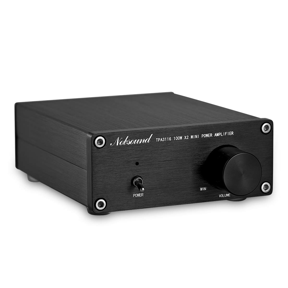 Nobsound Mini Dual TPA3116 Digital Power Amplifier HiFi Stereo Amp Audiophile-Grade 2.0 Channel 100W×2 NE5532P Pre-Amp (Black)