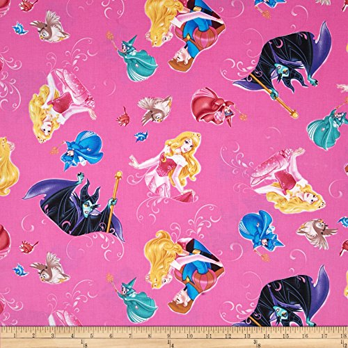 (Springs Creative Products Disney Sleeping Beauty with Film Toss Fuchsia Fabric By The Yard )