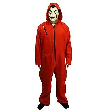 La Casa De Papel Salvador Dali Cosplay Movie Costume Red Coverall Halloween Costume (M)
