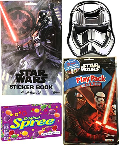 Star Wars Candy Activity Center Stormtrooper tin mints / Kylo Ren Coloring Book & Darth Vader Sticker pack + Spree Candy theater box