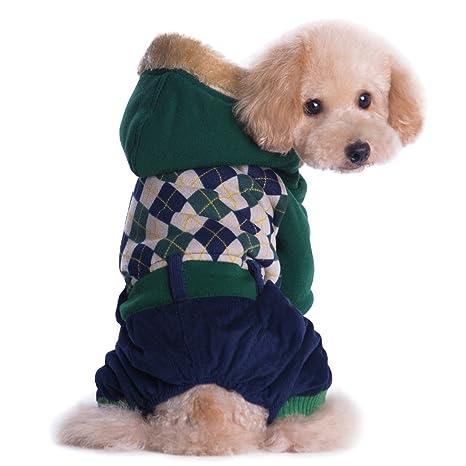 Perrito bon Capucha, Legendog Espesar Ropa para Perros Patrón a Cuadros Chaqueta para Perros de