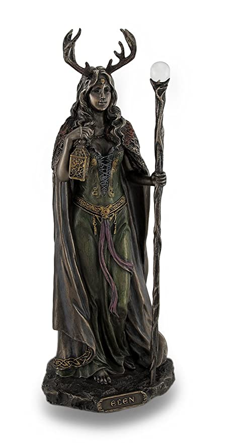 Resin Statues Elen Of The Ways Bronze Finish Statue Pagan Goddess 4 X 10.5  X 3.5