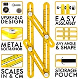 iTools Multi Angle Template Tool - Angle-izer Measuring Ruler Layout Multi-angle Tool with Metal Knobs and Bolts - Perfect for Tiling, Flooring, Brick Laying, Deck Building (Yellow (Aluminium))