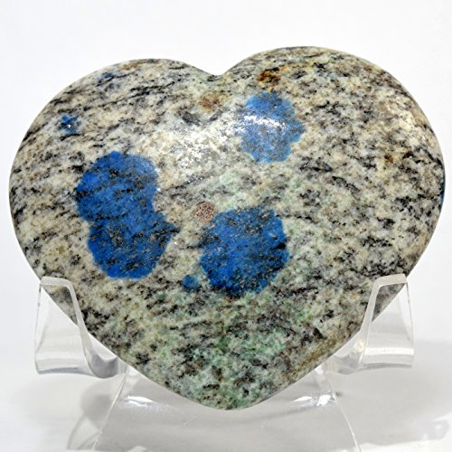 375 Carat K2 Jasper Azurite in Biotite Matrix Heart Natural Dotted Mineral Polished Crystal Gemstone - Pakistan + Acrylic Display Stand ()