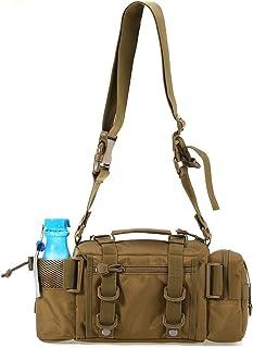Fjiujin,Multifonctionnel Sport en Plein Air Sac Leurre Taille Pack Poche Pole Paquet De Pêche De Pêche Sac(Color:Kaki)