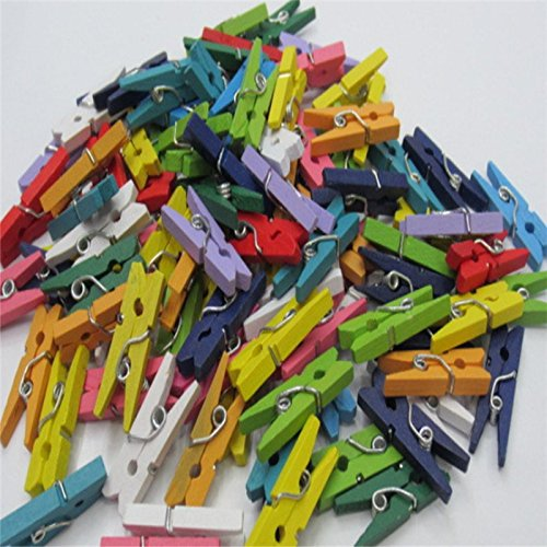 couleur naturelle//Colorcolorful Monbedos Lot de 100/mini pinces /à linge en bois Pinces /à linge Clips en bois Craft Clips pour suspendre des photos Arts Crafts DIY D/écorations