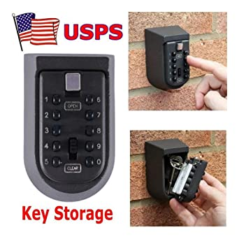 10 Digit Combination Hide Key Lock Box Wall Mount Security Outdoor Storage Case