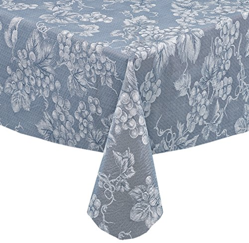 Grapevines Contemporary Grape Print Heavy 4 Gauge Vinyl Flannel Backed Tablecloth, Indoor/Outdoor Wipe Clean Tablecloth, 60 Inch x 104 Inch Oblong/Rectangle, Blue