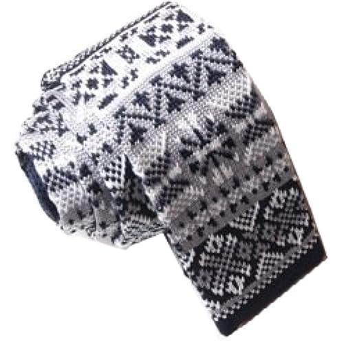 Drite Gray White Pattern Mens Slim Skinny Knit Knitted Tie