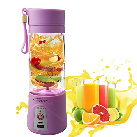 A szcxtop Multifunction 380ML Mini USB Electric Fruit Juicer CUP Rechargeable Smoothie Maker Blender Drink Bottle (Purple)