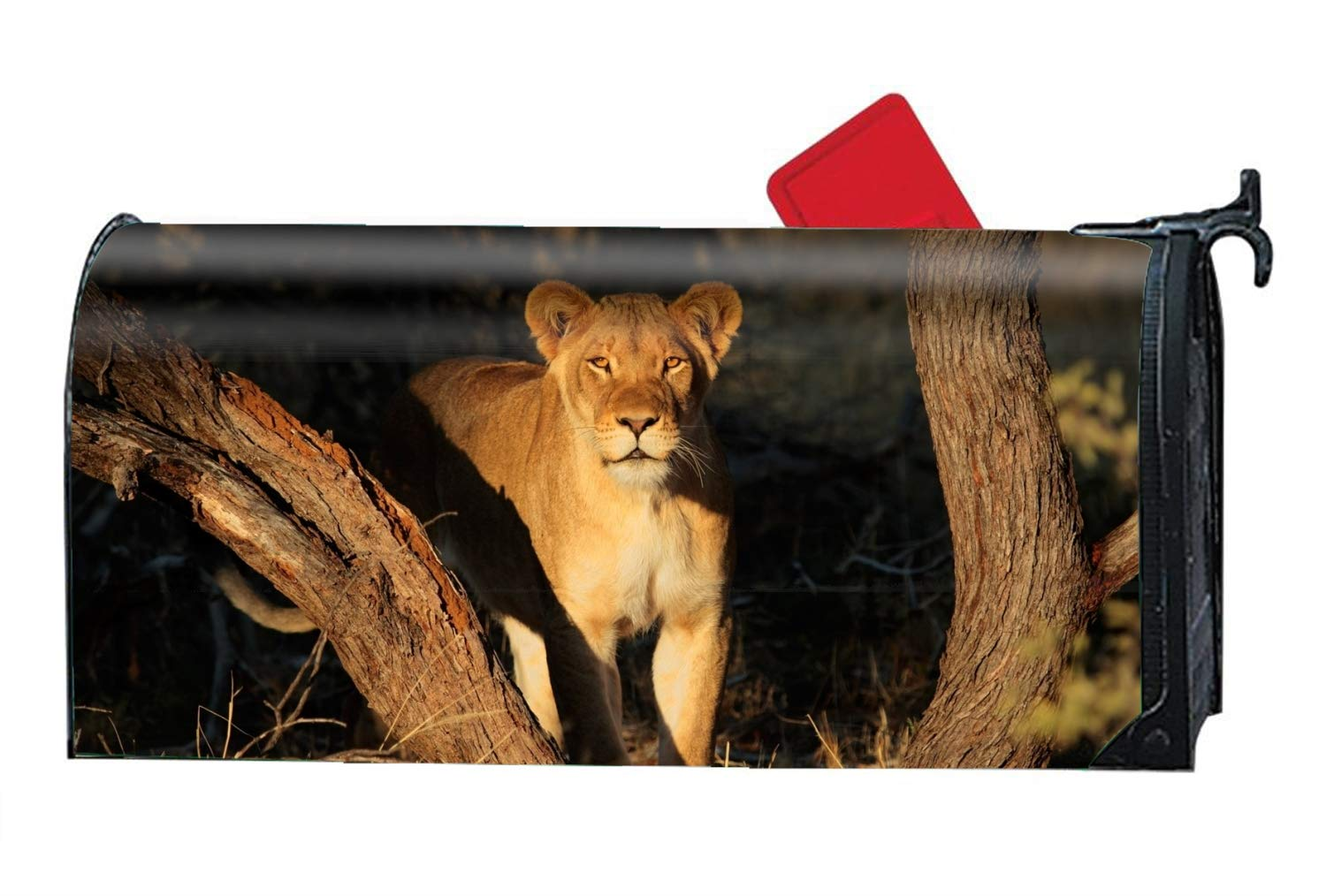 MAILL Animal Lion Stare Mailbox Cover - Mailbox Makeover - Magnetic Cover 9'' W x 21'' L