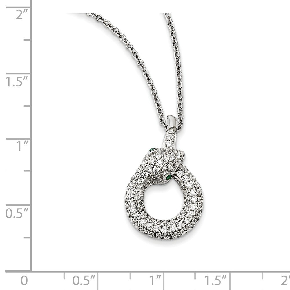 Sterling Silver CZ Brilliant Embers Snake Necklace 18 Inches