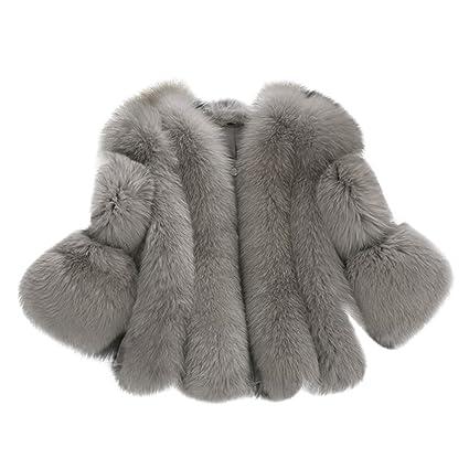 Per Womens 3/4 Sleeve Faux Fur Coat Imitation Fox Fur Warm ...