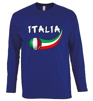 Supportershop Camiseta para hombre L/S Azul Italia fútbol, T-shirt homme L