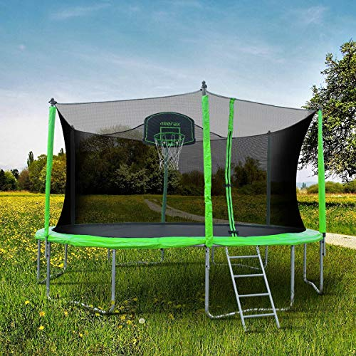 Merax 14FT 12FT Trampoline with Safety Enclosure Net, Basketball Hoop and Ladder - BV Certificated – Basketball Trampoline (12 Feet) by Merax (Image #2)