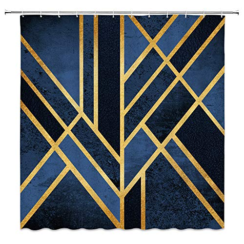 AMFD Geometric Shower Curtain Abstract Gold Stripes Marble Dark Blue Navy Fashion Exquisite Bathroom Curtains Decor Polyester Fabric Waterproof 70 X 70 Inches Include Hooks (Curtain Gold Blue And Shower)