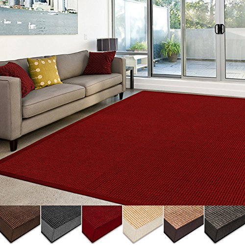 casa pura Sisal Rug | 100% Natural Fiber Area Rug | Non-Skid Eco-Friendly Throw Carpet for Entryway, Dining or Living Room | Various Colors and Sizes | Red - (Large Sisal Rugs)
