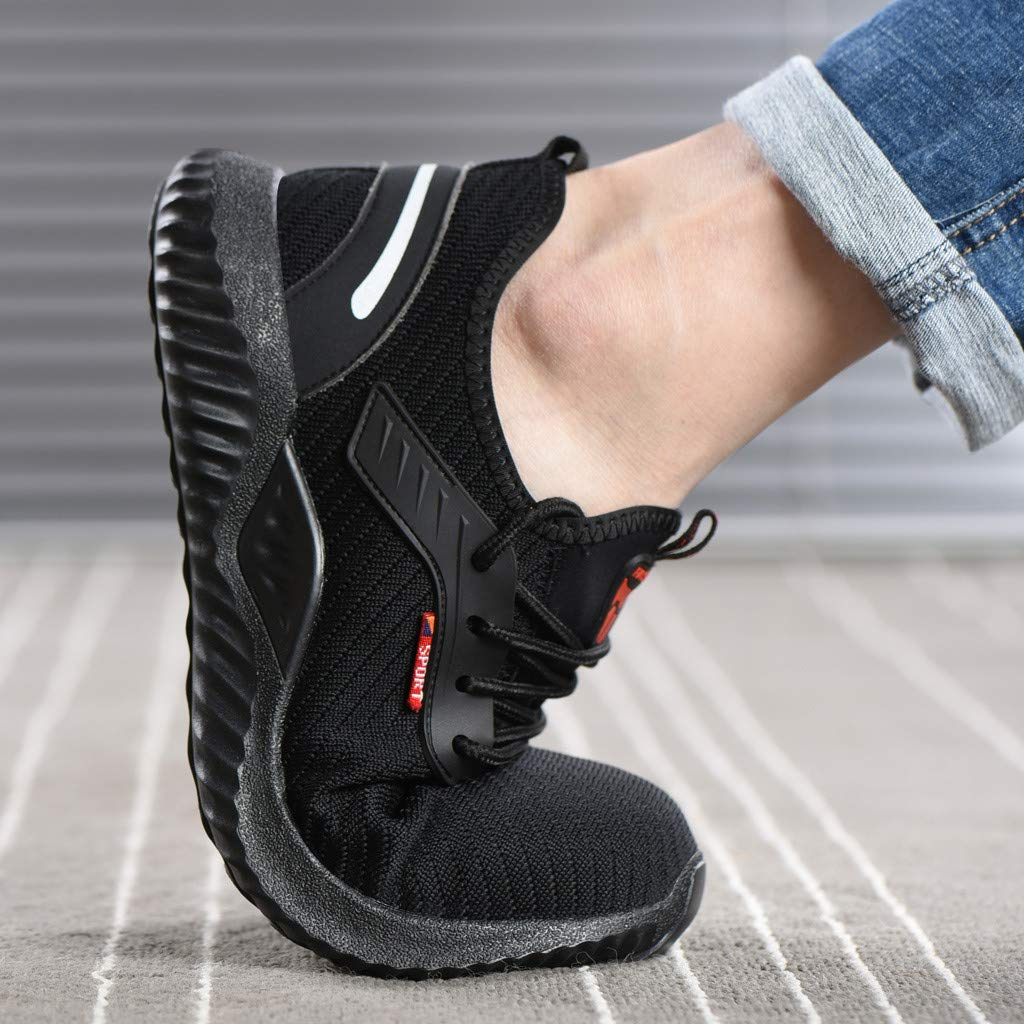 b1735ecbe6c53 Amazon.com: Men Work Sneakers の Unisex Black Steel Toe Work Shoes ...