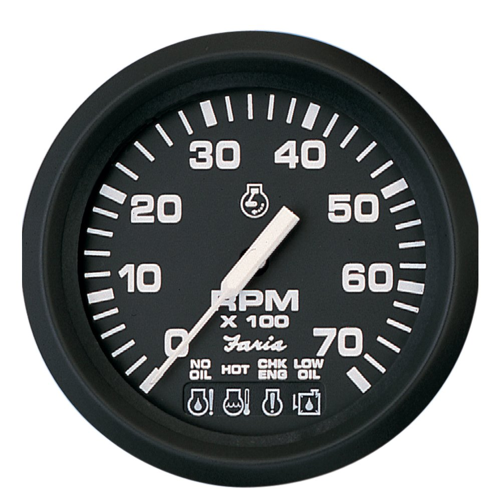 "Amazon.com: Faria 4"" Tachometer w/Systemcheck Indicator - 7,000 RPM (Gas -  Johnson/Evinrude Outboard) - Euro Black: Sports & Outdoors"