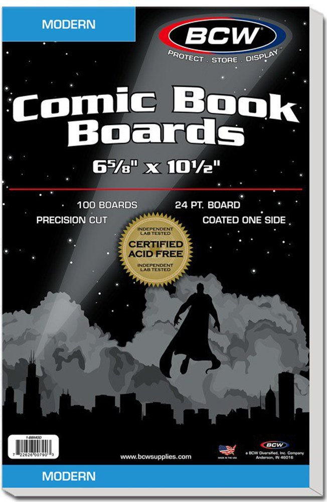 White Comic Backing Boards - Modern Size - 6 5/8 Inches x 10 1/2 Inches - BBMOD - (1000 Boards) by BCW