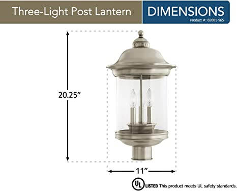 Sea Gull Lighting 82081 965 Hermitage Three Light Outdoor Post Lantern With Clear Glass Shade Antique Brushed Nickel Finish Garden Outdoor