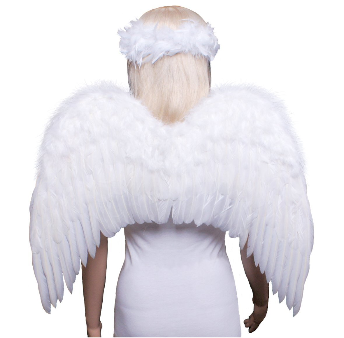 FashionWings (TM Teens Adults Classic White Costume Feather Angel Wings & Halo