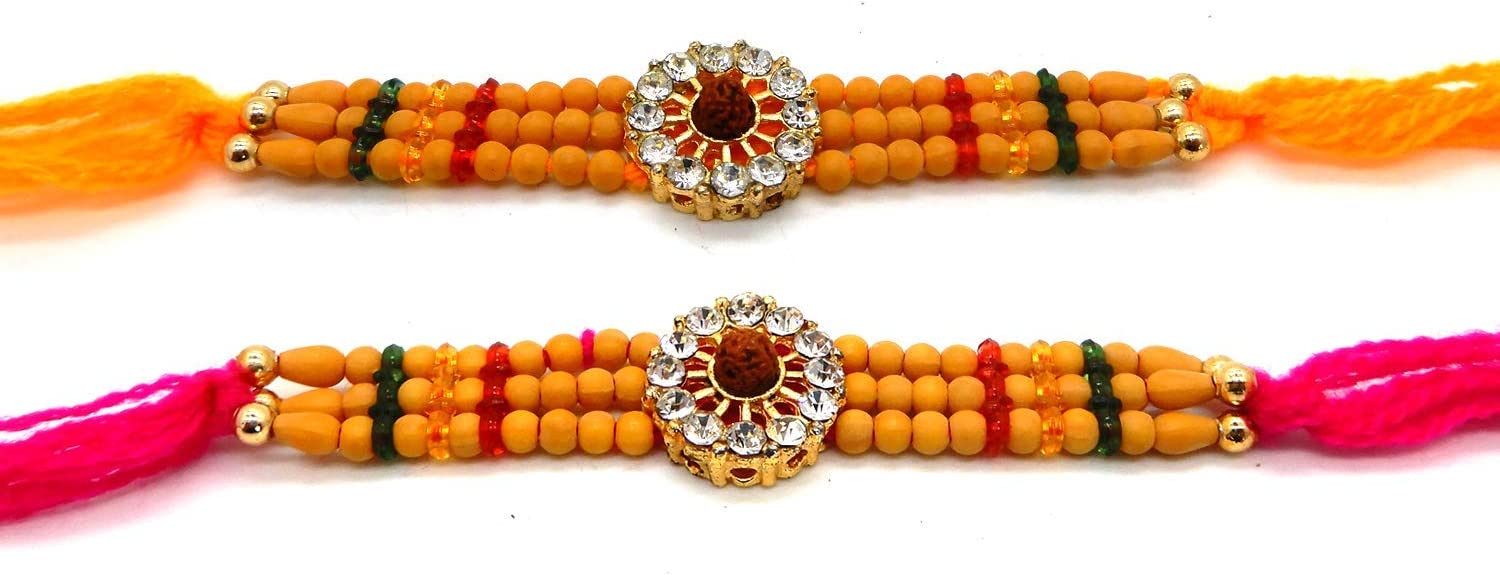 Rakhi thread 6 Stone WhopperIndia Set of Two Color Vary and Multi Design Raksha bandhan Gift for your Brother Yellow /& Pink Color