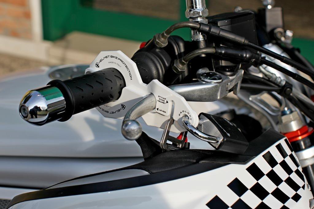 Anti-Diebstahl kombiniert f/ür Motorrad und Helm Standard Weiss mit Abus-padlock
