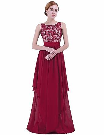 a5babd4a0e3 iEFiEL Women Junior Elegant Lace Flowing High Low Chiffon Bridesmaid Dress  Long Evening Gown Burgundy S
