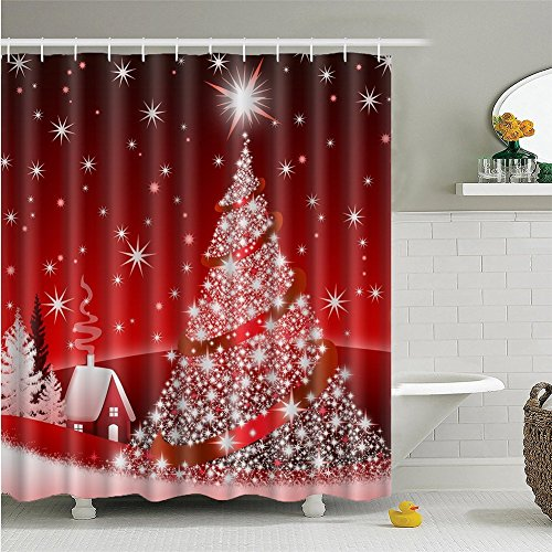 Christmas Tree Shower Curtains, Home Decor Christmas Decoration Background Fabric Shower Curtain European Style Bathroom Curtain Waterproof 72