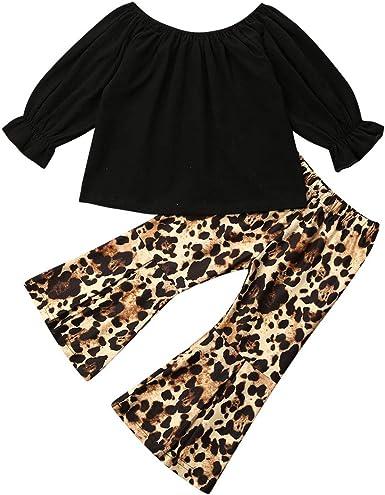 2PCS Toddler Kids Baby Girls Outfit Clothes T-shirt Tops+Leopard Long Pants Set