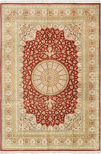 Pasargad Qum Collection Hand-Knotted Silk Area Rug- 7' 10