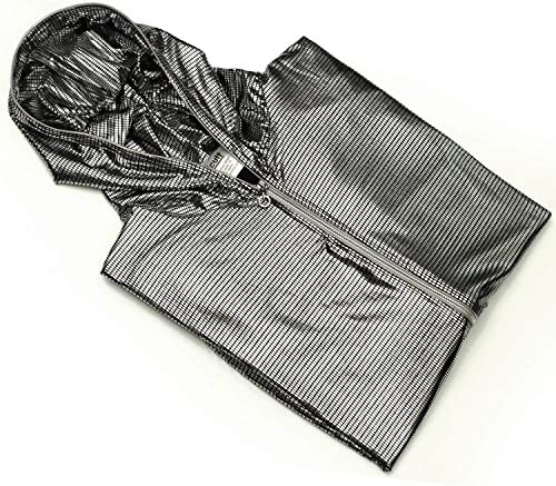 Ucult LED-Kapuzenjacke Silber Zip-Hoodie Glanz Zipper EL-Hoodie