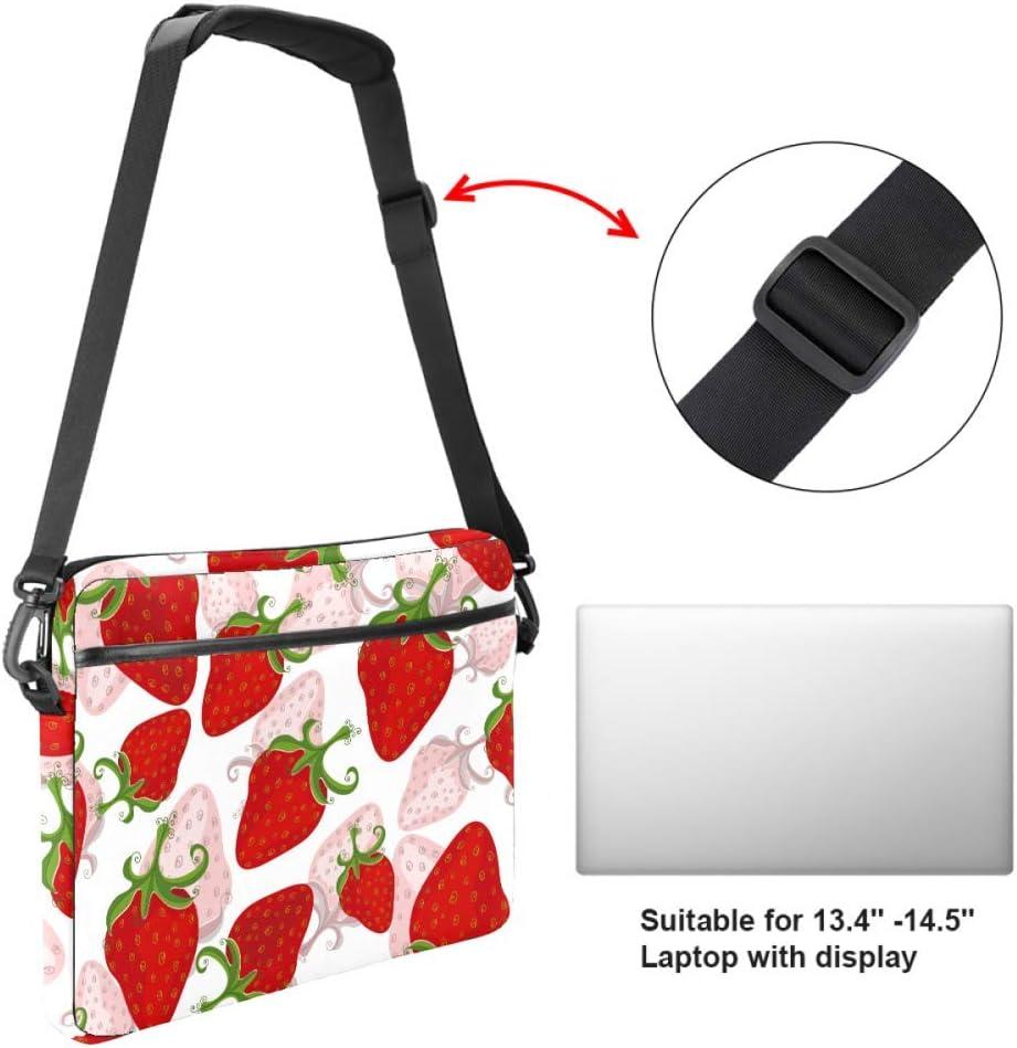 Red Strawberries Laptop Bag Satchel Tablet Sleeve Bussiness Shoulder Bag Document Handbag Briefcase 15x5.4 Inch