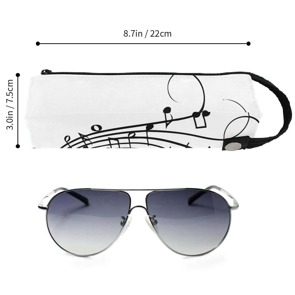 Glasses Case Musical Notes Drawing Portable Soft Sunglasses Pencil Bag Protective Purse