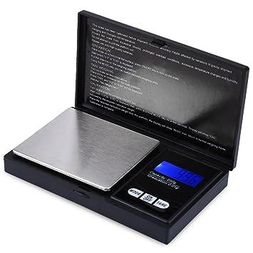 Tekanxc Báscula digital portátil Balanza Báscula Electrónica 200g de capacidad 0.01 Exactitud Mini dispositivo de pesaje con LCD, negro: Amazon.es: Hogar
