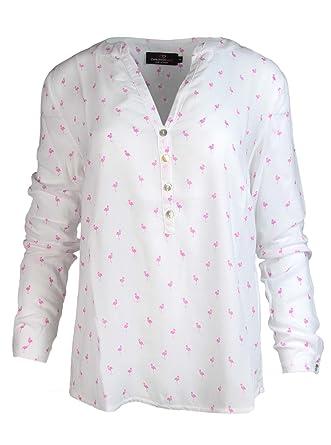 ab44360474bc Zwillingsherz Bluse Damen mit Flamingo - Sommer Oberteile - Hochwertige  Schöne und luftige Tunika Chiffon Blusen für Frauen - Elegantes Langarm  Hemd T-Shirt ...